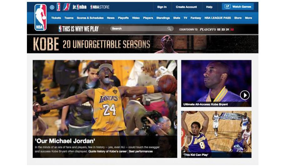 Kobe Bryant NBA Tribute Page (Image by Adage)